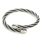 SHIYING G52D3F67BCA2EE Fried Dough Twist Style 316L Stainless Steel Bracelet - Black + Silver