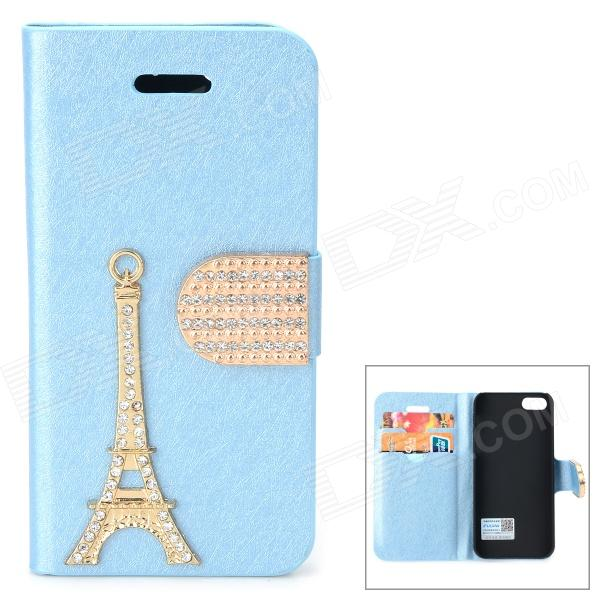 PUDINI WB-I5S Rhinestone Eiffel Tower Style Protective PU Leather Case for IPHONE 5 - Blue + Golden pudini wb ip5g rhinestone eiffel tower style pu leather case for iphone 5 brown golden