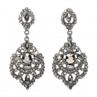 ER-5271 Stylish Hollow-Out Water Drop Style Zinc Alloy Earrings - Dark Silver