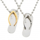 SHIYING G4C37E71F9BF44 Flip-Flops Style 316L Stainless Steel Couple's Necklaces - Golden + Silver
