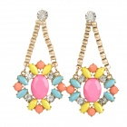 ER-9251 Colorful Rhinestone Zinc Alloy Earrings - Pink + Yellow + Multicolor