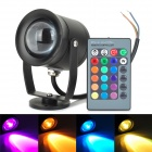 10W 550lm 1-LED RGB Dimming Underwater Lamp w/ Remote Controller for Fish Tank - Black (DC 12V)