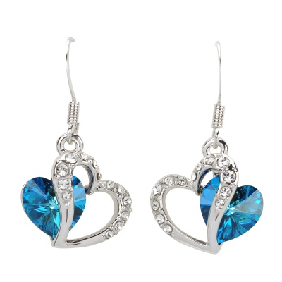RIGANT 190002 Love Heart Style Crystal Earring - Blue + Silver + Multi-Colored
