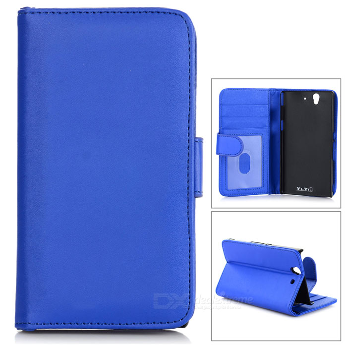 купить Protective PU Leather Case w/ Card Slot for Sony L36h / Xperia Z / C6603 - Blue недорого