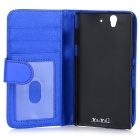 Protective PU Leather Case w/ Card Slot for Sony L36h / Xperia Z / C6603 - Blue