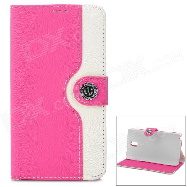 Protective Flip Open PU Leather Case for Samsung Note 3 - Deep Pink + White protective pu leather flip open case w stand for samsung note 3 n9000 deep pink light green