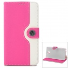 Protective Flip Open PU Leather Case for Samsung Note 3 - Deep Pink + White