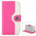 Protective Flip Open PU Case w/ Stand / Card Slots for Samsung i9500 - Deep Pink + White