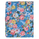 Flower Pattern Flip Open PU Leather + Plastic Case w/ Stand / Card Slots for IPAD 2 / 3 / 4
