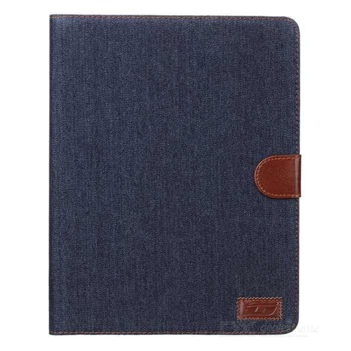 Protective Flip Open PU Leather + Plastic Case w/ Stand / Card Slots for IPAD 2 / 3 / 4 - Black Blue