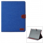 Protective Flip Open PU Leather + Plastic Case w/ Stand / Card Slots for IPAD 2 / 3 / 4 - Blue
