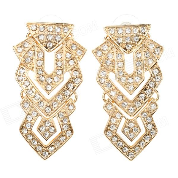 ER-5283 Stylish Rhinestone Zinc Alloy Earrings - Golden stylish shining rhinestone zinc alloy earrings golden