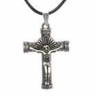 LZXL008 the Cross of Jesus Pendant Leather Strap Long Necklace - Black
