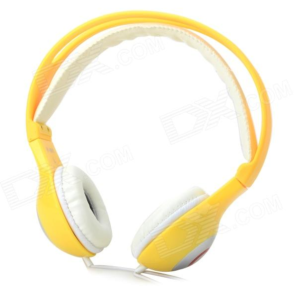 Yongle IP-801B Stylish 3.5mm Jack Wired HD Headset w/ Microphone for IPHONE / IPAD + More - Yellow stylish headset w microphone volume control for dell mini 5 streak 3 5mm jack 120cm cable