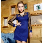 BHL-132 Sexy Mesh Insert Slim Long Sleeved Dress - Blue
