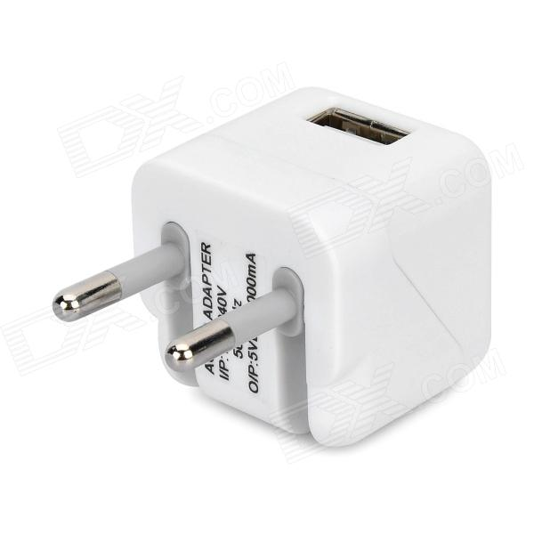 Folding 5V 1A USB AC / DC Power Adapter for IPAD + IPHONE + IPOD - White (EU-Plug)