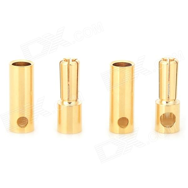 5.0mm Copper Video / Audio Banana Male / Female Plug / Connector Set - Golden (2 PCS) 6 35mm male to 3 5mm female stereo audio adapter for speaker microphone golden black 2 pcs