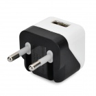 Folding 5V 1A USB AC / DC Power Adapter for IPAD + IPHONE + IPOD - White + Black (EU-Plug)
