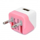 Folding 5V 1A USB AC / DC Power Adapter for IPAD + IPHONE + IPOD - White + Pink (EU-Plug)