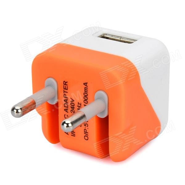 Folding 5V 1A USB AC / DC Power Adapter for IPAD + IPHONE + IPOD - White + Orange (EU-Plug) аксессуар защитная пленка nokia 2 luxcase антибл��ковая 53425