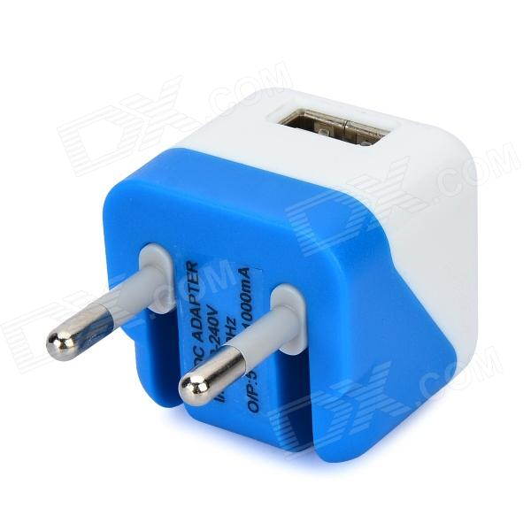 USB AC/DC Power Adapter for IPAD IPHONE IPOD - White + Deep Blue