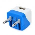Folding 5V 1A USB AC / DC Power Adapter for IPAD + IPHONE + IPOD - White + Deep Blue (EU-Plug)