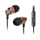 818 3.5mm Jack In-Ear Style Hands-free Earphone w/ Microphone for IPHONE - Black + Earthy (120cm)