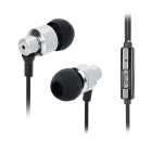 3.5mm Jack In-Ear Style Hands-free Earphone w/ Microphone for IPHONE - Black + Silver (120cm)