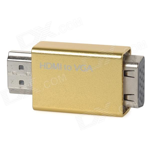 Aluminum Alloy + Plastic 1080P HDMI Male to VGA Male Adapter - Golden Yellow cheerlink 1080p hdmi to vga converter w 3 5mm dc port eu plug adapter black
