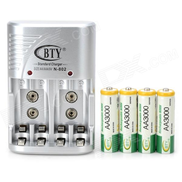 BTY 802 US Plug 4-Slot AA / AAA / 6F22 Battery Charger w/ 4-AA Batteries - White + Green + Silver