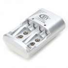 BTY 802 US Plugss 4-Slot AA / AAA / 6F22 Battery Charger w/ 4-AA Batteries - White + Green + Silver
