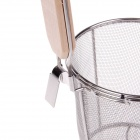 Wooden Handle Stainless Steel Kitchen Ware Dumplings Noodles Mesh Strainer - Silver