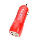 YI-YI Mini Car Cigarette Lighter Charger w/ Dual USB - Red
