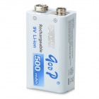 GD 9V 500mAh Rechargeable Li-ion Battery - White + Blue + Multicolored
