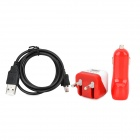 3-in-1 Micro USB Charging Cable + Mini EU Plug Charge + Double USB Car Charger for Samsung - Red