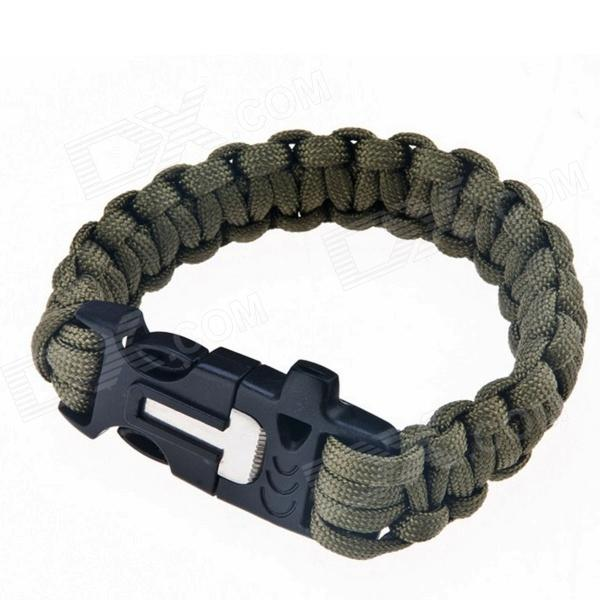 HXOUTDOORS D-101 Survival Hand Rope with Magnesium Rods / Whistle - Army Green survival nylon bracelet with whistle army green