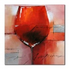 Larts DX0226-03 Red Wine Cup Pattern Canvas Hand-Painted Oil Painting - Red
