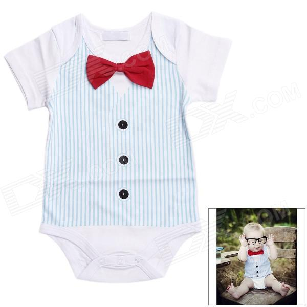 DHY039 Bow Tie Cotton Baby's Infant Romper Clothes - White + Blue + Red (Size XL)