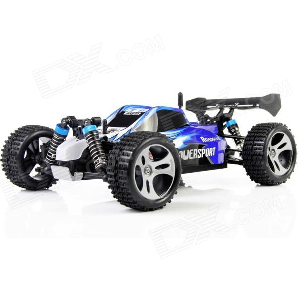 WLtoys A959 1:18 Scale 4-CH 2.4GHz High Speed R/C Cross-Country Drifting Car - Blue + White nansheng 8807g 1 12 scale 3 ch 2 4ghz high speed r c cross country car silver black