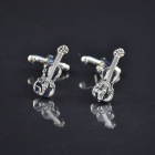 DEDO MG-115 Stylish Violin Style Brass + 18K Gold Cufflinks - Silver White (2 PCS)