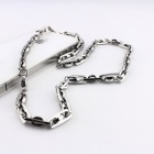 EQute PSSM4C1 316L Stainless Steel 7mm Width Silver Chain Necklace - Silver