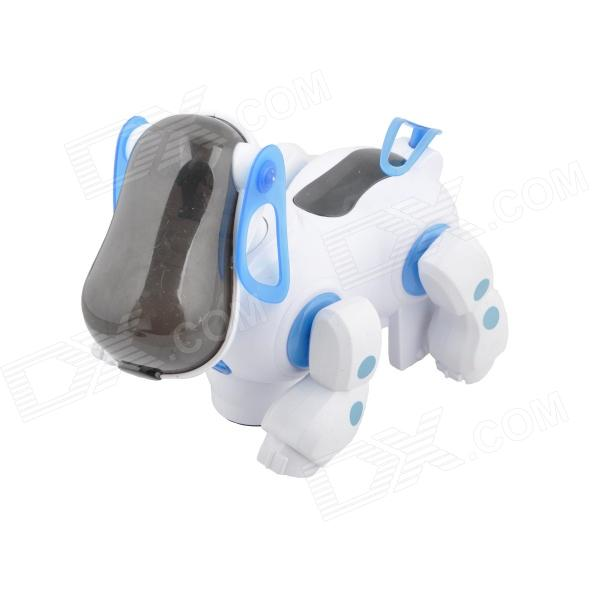 Cute Fun Robotic Pet Dog Puppy w/  Light & Music Effect - White + Blue