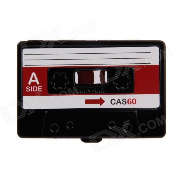 Music Cassette Style Aluminum Alloy Two-Sided Business Name Card Holder Case - Black + Red 1pcs vertical id name card case aluminum alloy business card badge holder with neck lanyard strap company office supplies