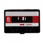 Music Cassette Style Aluminum Alloy Two-Sided Business Name Card Holder Case - Black + Red
