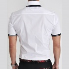 REVERIE UOMO Men's Leisure Summer Wear Slim Fit Short Sleeve Blending Shirt - White (Size L)