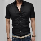 REVERIE UOMO Men's Leisure Summer Wear Slim Fit Short Sleeve Blending Shirt - Black (Size L)