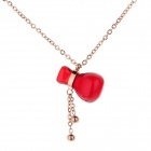 WS008 323L Stainless Steel Necklace w/ Cute Red Bottle Pendant - Light Gold + Red