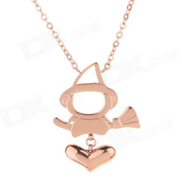 WS004 319L Stainless Steel Necklace w/ Cute Magic Pendant - Light Gold