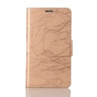 Flower Show Protective PU + PC Case w/ Stand / Card Slots for Samsung Note 2 N7100 - Champagne Gold