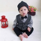 HY2062 Gentleman Vest Style Cotton Baby's Long Sleeve Infant Romper Clothes - Black + Gray (Size L)